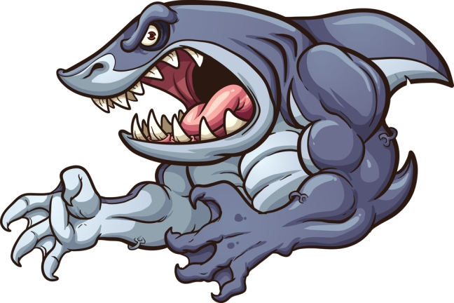 Raging strong shark. Vector clip art illustration with simple gr