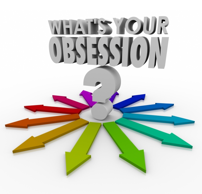 What's Your Obsession words and question mark surrounded by arro