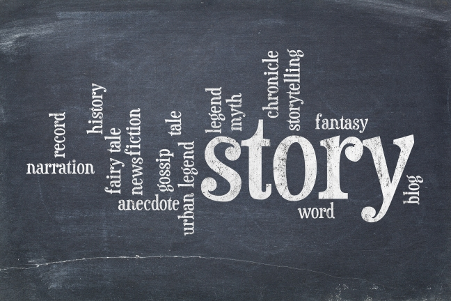 cloud of words related to story, legend and myth on an old slate