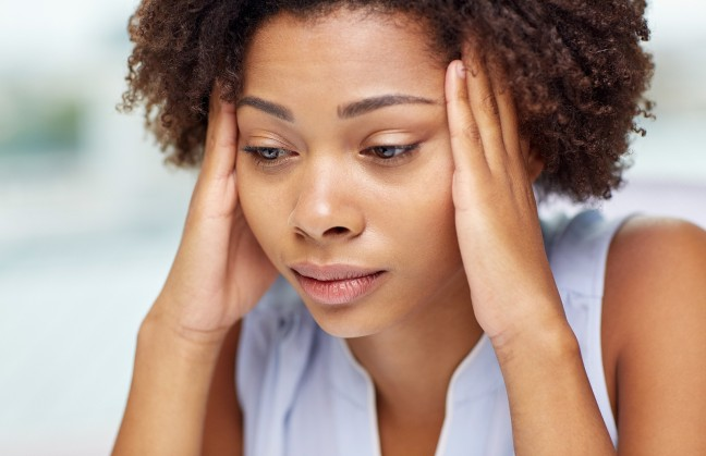 people, emotions, stress and health care concept - unhappy afric