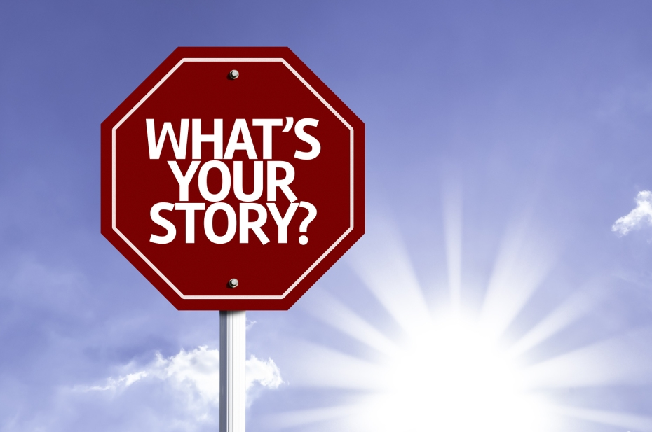 Whats Your Story? written on red road sign with sky background